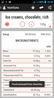 Screenshot of NutriData Nutrition & Calories