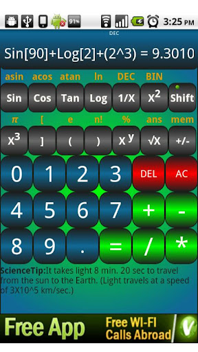 Calculator with shake