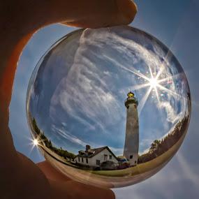 Lighthouse Sphere  by Karen Celella - Artistic Objects Glass ( reflection, ball, lake huron, lighthouse, star, sphere, travel, object, refraction, landscape, lighthouses, stars, glass, scene,  )