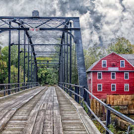 Working Mill by Jerry Ward - Buildings & Architecture Bridges & Suspended Structures ( clouds, building, nature, hdr, colorful, autumn, fall, architecture, bridge, nikon, landscape, river )