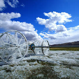 Reno Iced! by Gary Piazza - Artistic Objects Other Objects ( farm land, reno, ice, fields, irrigation )