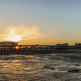 Worthing Pier Tide Out by Darren Curtis - Landscapes Beaches ( cityscapes, copyright-2014 all rights reserved, landscapes of sussex, seascapes, 2014-03 worthing pier tide out, living landscapes, landscapes, fine art photography., sussex landscapes, street photography )
