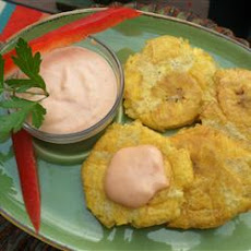 Tostones (Twice Fried Green Plantains) with Mayo-Ketchup Dipping Sauce