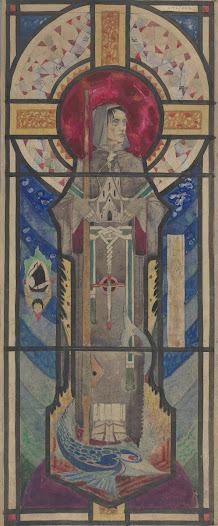 Detail of colour scheme for St Brendan's window. The motif of the tiny sail boat inscribed inside a medallion harks back to prior designs and book illustrations by Harry Clarke, perpetuating Clarke's style even after his death.