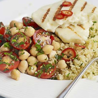 Halloumi With Chickpea Salsa & Couscous