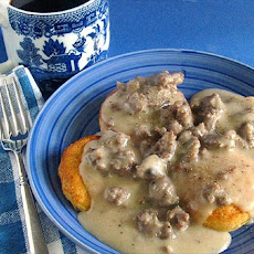 Peppered Sausage Gravy and Biscuits