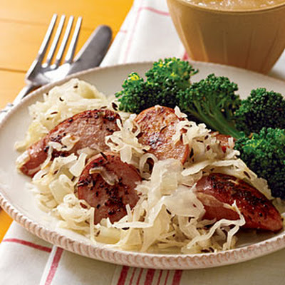 Pan-Grilled Sausages with Sauerkraut