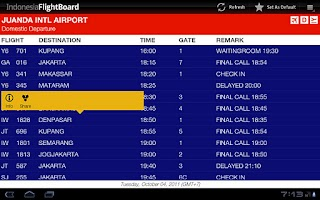 Screenshot of Indonesia FlightBoard