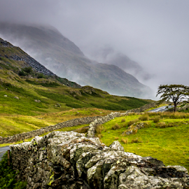 Lakeland Mist by Gordon Bishop - Landscapes Cloud Formations ( clouds, lake, road, wall, lake district )