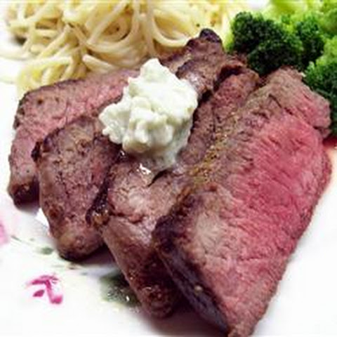 Kickin' London Broil with Bleu Cheese Butter