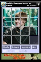 Screenshot of PuzzlePal Justin Bieber