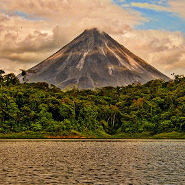 Volcano by Jeff Johnson - Landscapes Mountains & Hills ( peaceful, volcano, sunset, costa rica, artists and writers )