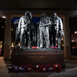RAF Bomber Command Memorial at Night by Deborah Russenberger - Buildings & Architecture Statues & Monuments ( statue, memorial )