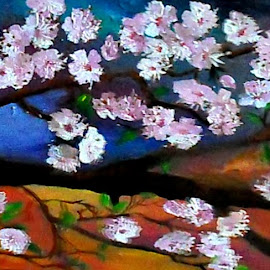 Blooming cherry tree by Livia Copaceanu - Painting All Painting ( cherry, tree, bloom, painting, oil painting )