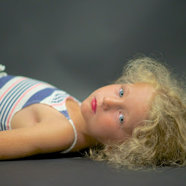 Serious Side of Madeline.. by Martha Pope - Babies & Children Child Portraits ( child, blonde, girl, blue eyes, lipstick, serious,  )