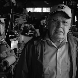 Old mechanic by Tony Moore - People Portraits of Men ( catawba county, grandfather, garage, bw, bw black and white, 2010, mess, elderly, rustic, ow, senior )