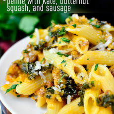 Gluten-Free Penne with Kale, Butternut Squash and Sausage