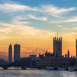 Palatial Sunset by Stephen Bridger - City,  Street & Park  Skylines ( skyline, europe, travel, united kingdom, palace of westminster, england, london, thames, sunset, westminster, big ben, palace, travel photography, river )