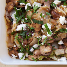 Braised Napa Cabbage with Mushrooms and Gorgonzola