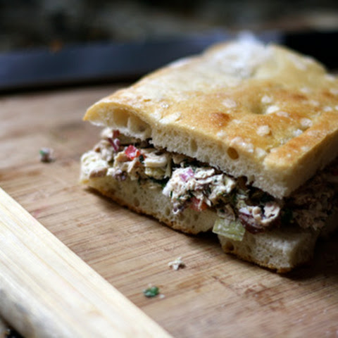 Mediterranean Tuna Salad on Focaccia