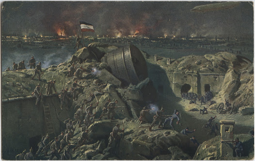 A main line of defense for Belgium was the ring of forts around the main city of Liege, centered on Fort Loncin. This colored postcard depicts the German storming and capture of Fort Loncin on August 15, 1914.