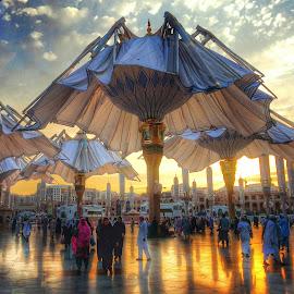 The Umbrellas by Ellys Purwandari - Instagram & Mobile Android ( islam, sunset, mosque, architecture )