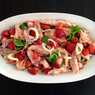 Strawberry/Fennel Salad With Hot-Smoked Salmon