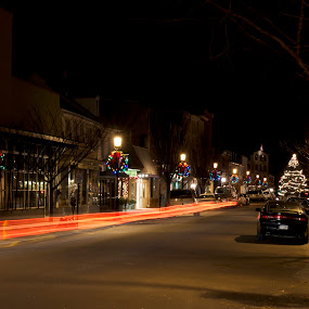 The Borough at Christmas by Mark Lendacky - City,  Street & Park  Historic Districts ( street lights christmas holiday night )