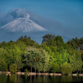 Volcano and Lagoon by Cristobal Garciaferro Rubio - Landscapes Travel ( refelctions, laguna, puebla city, san baltasar lagoon, puebla, smoking volcano )