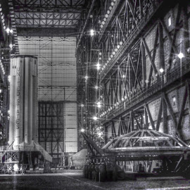 Saturn I First Stage Inside VAB by David Hannah - News & Events US Events ( project, nasa, moon, vab, apollo, saturn )