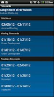 Screenshot of IQNavigator Timecards