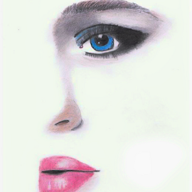 Half Stare by Lawrence Ferreira - Drawing All Drawing ( face, girl, colorful, woman, artistic, pencil drawing, drawing,  )