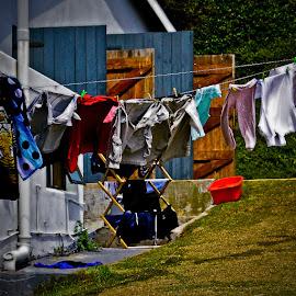 rural washing line by Magdalena Wysoczanska - City,  Street & Park  Neighborhoods