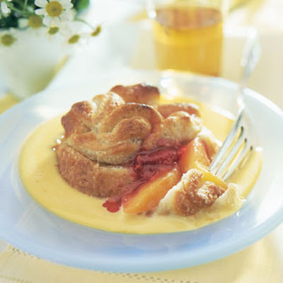 Peach-Raspberry Bundles with Orange Custard Sauce