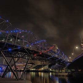 Helix Bridge by Francis Fok - Buildings & Architecture Bridges & Suspended Structures ( singapore, nightscape )