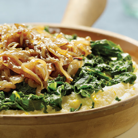 Smothered Cheese Grits and Steamed Greens
