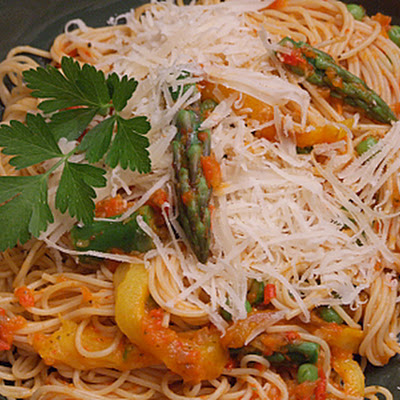 Angel Hair Pasta with Spring Vegetable and Red Pepper Tomato Sauce