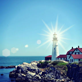 Head Light lit up in Portland Maine by Kirsi Bertolini - City,  Street & Park  Historic Districts