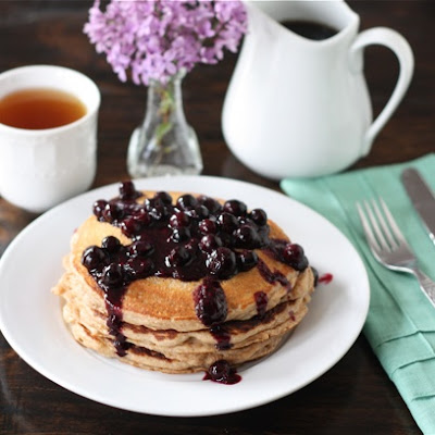 Whole Wheat Kefir Pancakes with Blueberry Sauce