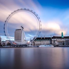 London Eye by Kamran Adnan - City,  Street & Park  Skylines ( water, blurred, london eye, thames, london, blue, long exposure, ferris wheel, river )