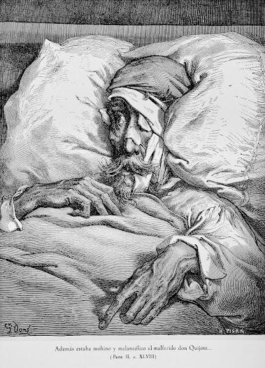 """""""Levántate, Sancho, si puedes, y llama al alcaide de esta fortaleza y procura que se me dé un poco de aceite, vino, sal y romero para hacer el salutífero bálsamo… porque se me va mucha sangre de la herida que esta fantasma me ha dado."""""""