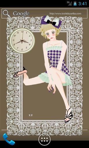 おしゃれでかわいい女の子ライブ壁紙1(アナログ時計)