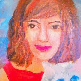 Love by Livia Copaceanu - Painting All Painting ( love, cat, painting, portrait )