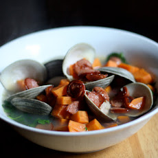 Dinner Tonight: Clams with Sweet Potato Smoked Sausage and Watercress