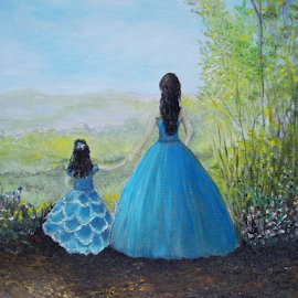 Sisters by Rhonda Lee - Painting All Painting ( girls, unique, daughter, fun, cute, pretty, mom, sister, girl, friends, blue, dress, dress art, painting )