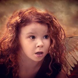 by Karen Raymond Burke - Babies & Children Child Portraits ( angel, child, clouds, red hair, wings, beautiful, digital art, curls, pretty, light )
