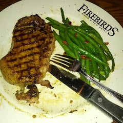 Wood-Fire Grilled Rib-Eye w/ Sauteed Green Beans & Pecans! Omnivore's Heavenly Dinner Out @ Firebird