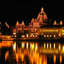 Victoria Parliament Buildings by Mike O'Connor - Buildings & Architecture Public & Historical ( lights, parliament buildings, reflections, victoria, nightscape, british columbia,  )