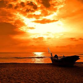 Boat at Sunset by Charmini Delgoda - Transportation Boats ( sunset, travel, beach, boat, photography,  )
