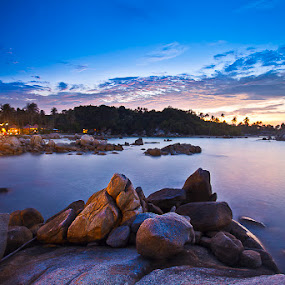 Bangka On Purple by Andrial Kusuma - Landscapes Beaches ( bangka, sunset, landscape )
